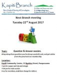 22 Aug 2017 meeting 7pm for 7:30, Kapiti Community Centre