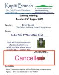 Cancelled: Aug 25 2020 Evening meeting