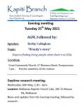 Monthly meetings: May 2021